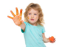 Happy child with painted hand Stock Photography