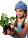 Happy Child with Plant royalty free stock images