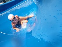 Happy child play on pool Royalty Free Stock Images