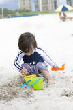 Happy Child Playing On The Beach Stock Images