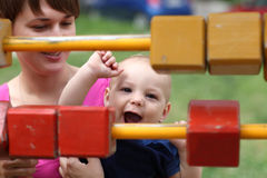Happy child playing with blocks Royalty Free Stock Image