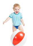 Happy child playing with colorful ball royalty free stock photo