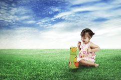 The happy child playing cubes Royalty Free Stock Photo