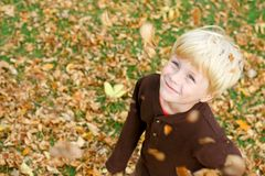 Happy Child Playing in Falling Leaves Royalty Free Stock Photos