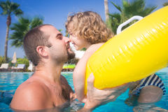 Happy child playing with father Royalty Free Stock Photos