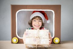Happy child on Christmas eve Royalty Free Stock Photo