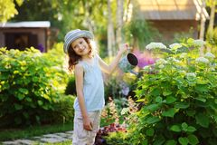 Happy child playing little gardener and watering hydrangea bush in sunny summer garden. Little helper concept. Kids spending summer vacation in countryside Stock Photo