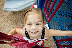Happy Child Playing on Playground Stock Image