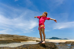 Happy child playing in sea. Summer vacations concept Royalty Free Stock Image