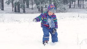 Happy child playing with snow in the forest or park. Beautiful winter day during a snowfall. Fun and games in the fresh stock video footage