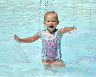 Happy child in the pool Royalty Free Stock Images