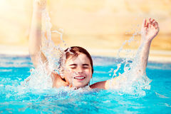 Happy child in the pool Royalty Free Stock Photography