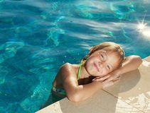 Happy child at pool royalty free stock photos