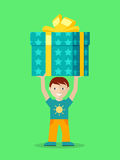 Happy Child with Presents Flat Vector Illustration Stock Photography
