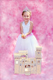 Happy child Princess with her royal subjects and castle Royalty Free Stock Photo