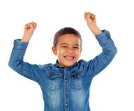 Happy child raising the arms. Isolated on a white background Stock Photo