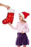 Happy child receiving present at Christmas Royalty Free Stock Photo