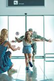 Happy child running to father in military uniform Royalty Free Stock Photos