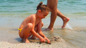 Happy child sand castle summer vacation beach stock video