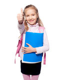 Happy Child with schoolbag Stock Photo