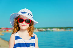 Happy child in the sea. Travel concept. Royalty Free Stock Photography