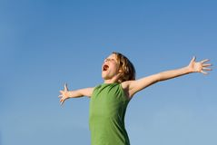 Happy child shouting for joy. Happy healthy kid shouting for joy Royalty Free Stock Image