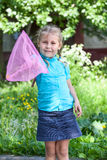 Happy child showing butterfly net Stock Photography