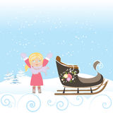 Happy Child Sled Winter Christmas Snow Snowflake Old Vector Illustration Royalty Free Stock Photos
