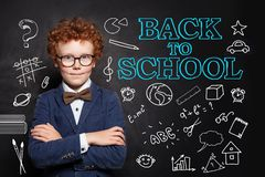 Happy child smart student boy in classroom on chalkboard background. Back to school concept.  royalty free stock image