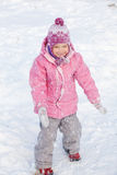 Happy child in snow Stock Photos