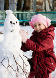 Happy child with snowman Royalty Free Stock Photos