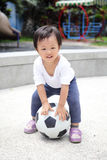 Happy child with soccer Royalty Free Stock Photography