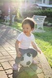 Happy child with soccer Royalty Free Stock Photo