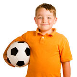 Happy child with soccer ball Stock Images