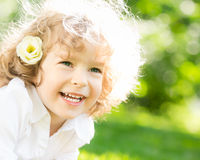 Happy child in spring Royalty Free Stock Photo