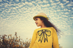 Happy child in spring field.  Freedom concept Stock Photography