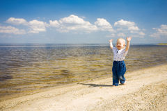 Happy Child Sruns Stock Photo