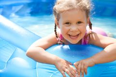 Happy Child Swimming Royalty Free Stock Photos
