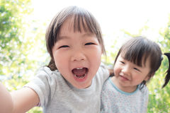 Happy child take a selfie Royalty Free Stock Image