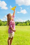 Happy child throw paper plane Royalty Free Stock Image