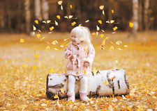 Happy child throws up yellow leaves and having fun in autumn Stock Images