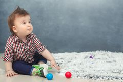 Funny baby toddler boy at home Stock Photo