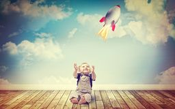 Child and rocket toy Stock Photography