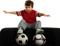 Happy child with two ball represents flight Stock Images