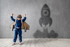 Free Happy Child Wants To Fly. Imagination, Freedom And Motivation Concept Royalty Free Stock Photography - 169369517