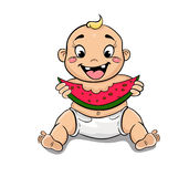 Happy child with watermelon in hand. Cartoon happy child with watermelon in hand sitting on the floor Royalty Free Stock Image