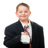 Happy child wearing suit that is too big Stock Image