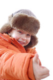 Happy child wearing winter clothing Stock Images