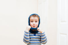 Happy child wearing winter hat Royalty Free Stock Image