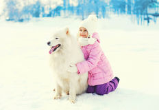 Happy child with white Samoyed dog playing on snow in winter Royalty Free Stock Photography